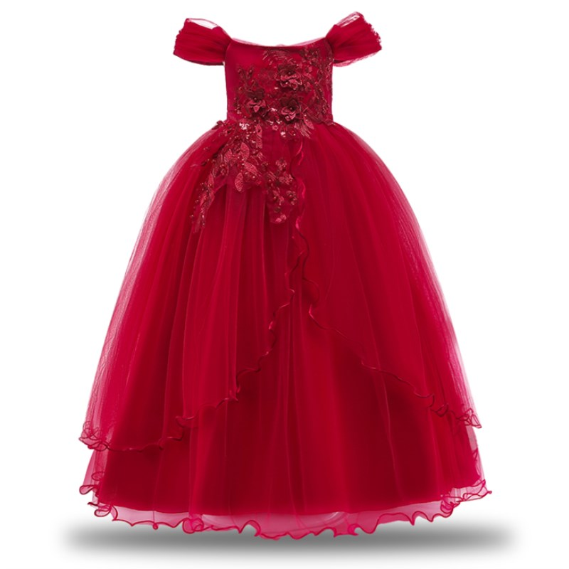 Girls Elegent Ball Gowns Lace Tulle Appliques Ankle Length Flower Girls Princess Formal Wedding Pageant Dresses Teens 3-14 Years summer flower lace girls wedding pageant party dresses princess formal prom gowns size 3 14 years 2018 new kid girl clothes
