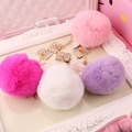 New Style 5pcs/lot Colorful Handmade  Rounds Shape Rabbits Fur Ball Rhinestone Alloy Square Phone Case Decoration accessory