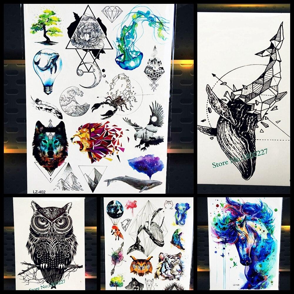 New Diamante Bonito Baleia Golfinho Seta Peixe Tatuagem Temporária À Prova D' Água 3D Tatoo Para Mulheres Dos Homens Body Art Tatuagem Falsa Adesivos