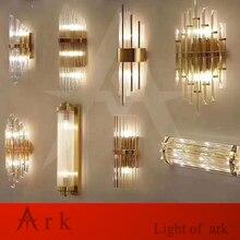 הפוסטמודרנית קריסטל מנורת קיר זהב פמוט קיר אורות AC110V 220V אופנה יוקרה זוהר סלון חדר שינה אור גופי