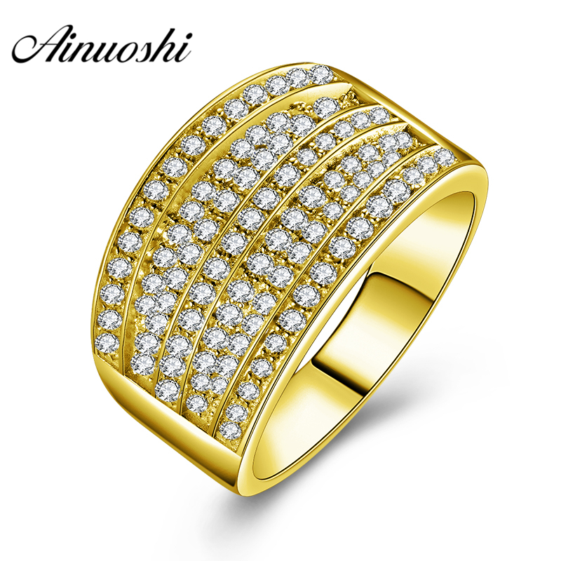 AINUOSHI 14K Solid Yellow Gold Men Ring Trendy Rows Cluster Ring Wedding Engagement Real Gold Jewelry Wide Wedding Band for MenAINUOSHI 14K Solid Yellow Gold Men Ring Trendy Rows Cluster Ring Wedding Engagement Real Gold Jewelry Wide Wedding Band for Men