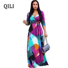 QILI Boho Women Dress Autumn New Loose Dresses Multicolor Printed V Neck Three Quarter Belted Elegant Ladies Long