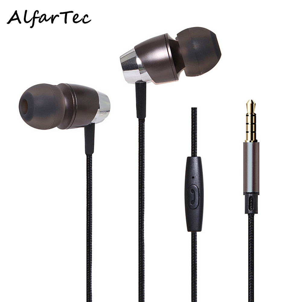 Stereo Heavy Bass Metal In-Ear Nylon Line Earphones Noise Isolating Protable Headphone With Mic For IOS Android Smart Phone MP3 2pcs 3 5mm in ear earphones headphone with mic