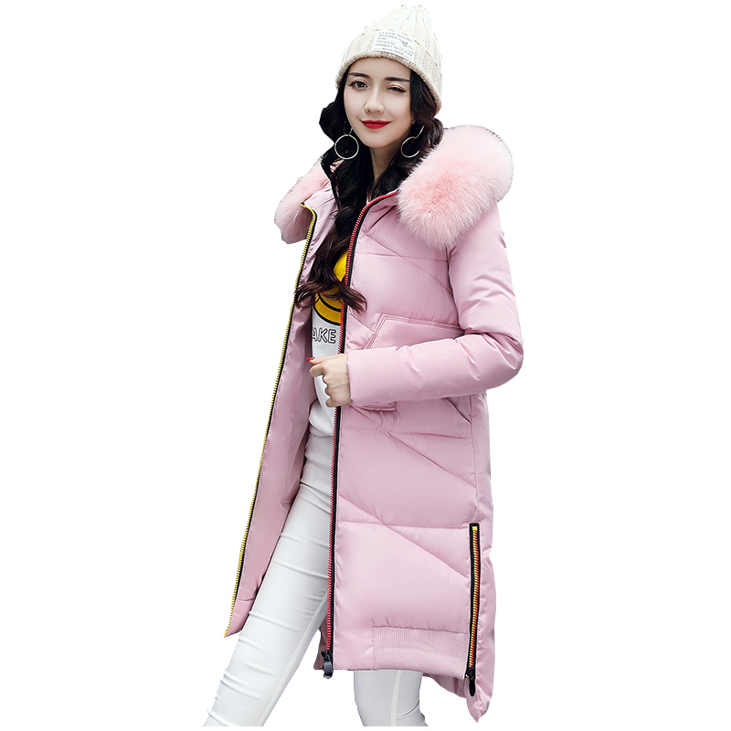 2017 New Women Long Winter Jacket Plus Size 3XL Warm Cotton Coat Hooded Fur Collar Female Parkas Wadded Outerwear 918 women winter jacket 2017 new fashion ladies long cotton coat thick warm parkas female outerwear hooded fur collar plus size 5xl