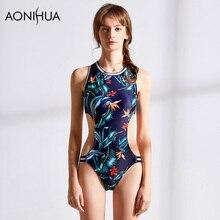 AONIHUA Women Floral Printed One-Piece Bikinis Set Swimsuit Sexy Bathing Beach Wear Surfing Sport Swimwear