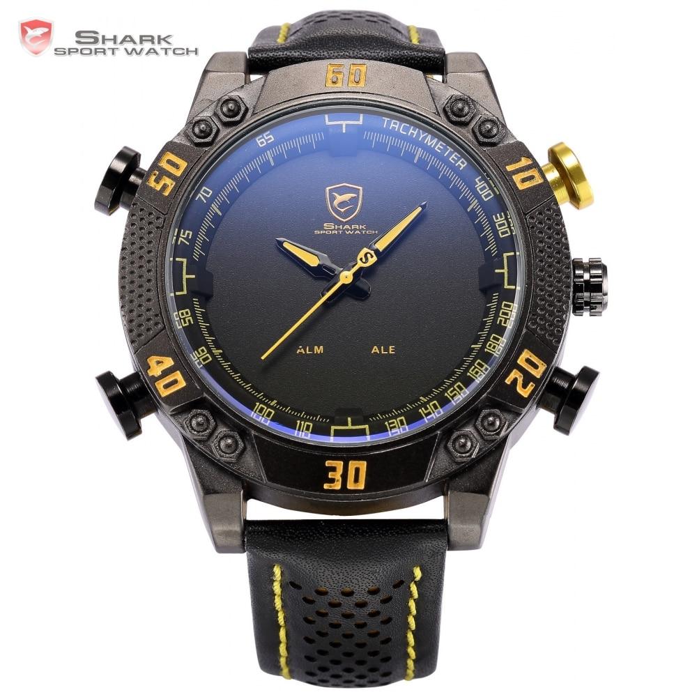 ФОТО Brand Shark Sport Watch Men LED Digital Dual Time Date Day Black Yellow Leather Strap Relogio Male Quartz Military Clock / SH231