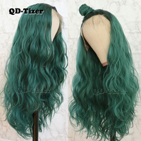 QD Tizer Hair Loose Wave Hair Lace Wig with BabyHair Glueless Heat Resistant Synthetic Lace Front Wigs for Women Ombre Green Wig