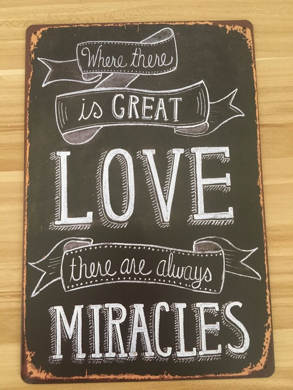 "Metal Sign Letters Wholesale 20X30Cm Tin Sign Letters Sign ""love Make Miracles"" Retro Shop Iron"