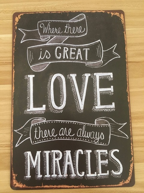 """Metal Sign Letters Wholesale 20X30Cm Tin Sign Letters Sign """"love Make Miracles"""" Retro Shop Iron"""