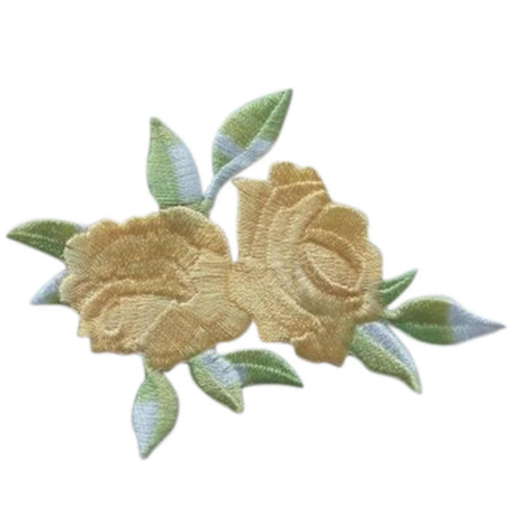 2017 Double Head Rose Flower Leaves Embroidery Iron On Applique Patch Sew On Patch Craft Sewing Repair Embroidered