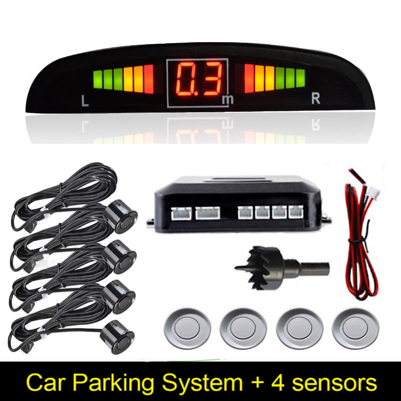 Parktronic Sensor Parking Parkmaster 4 Probes Buzzers Electromagnetic Detector Rear Radar Monitor System Recoil Parking Control цена