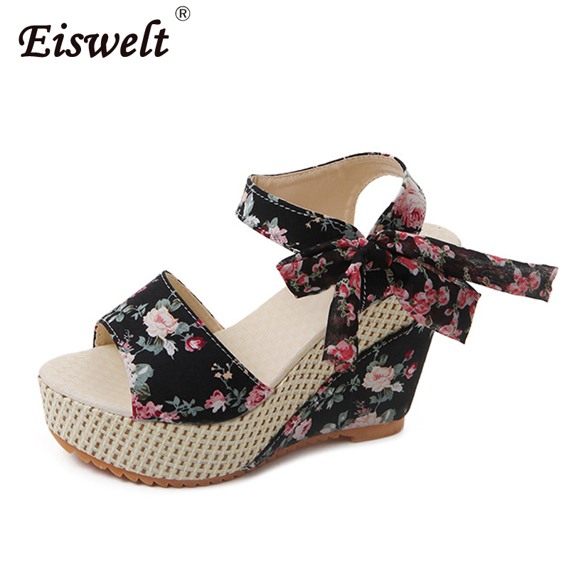 EISWELT Summer Ladies Shoes Women Sandals Summer Open Toe Fish Head Casual Platform High Heels Wedge Sandals Female Women Shoes цена