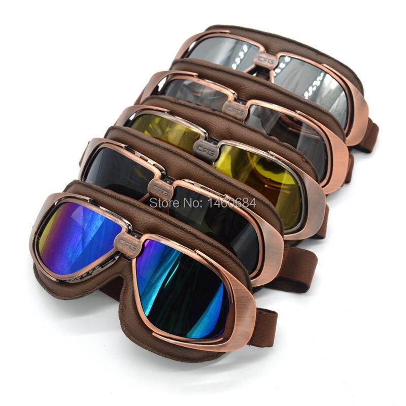 Evomosa New JET Helmet Goggles Motorcycle Goggle Vintage Pilot Biker Brown Leather Eyewear/Skiing Glasses/Racing Gafas