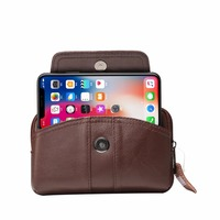 Luxury Universal Genuine Leather Waist Cases Wallet Case Belt Pouch Phone Cover For Samsung Galaxy Note
