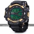 2016 30 m Waterproo Multifuncional Masculino Reloj Deportivo LED Redondo Reloj Deportivo Digital Con Correa De Plastico y Reloj Despertador 83338G