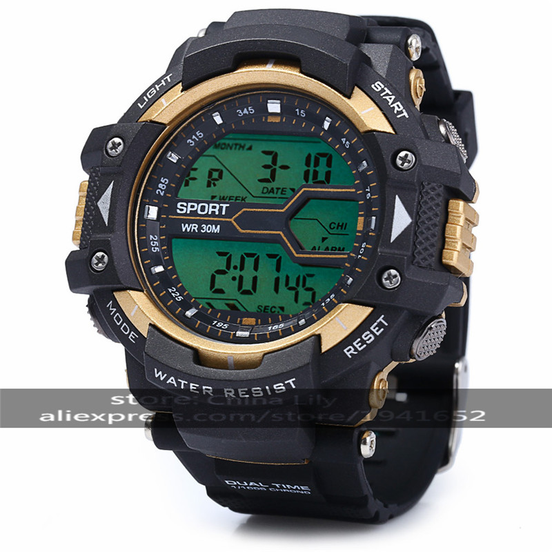 2016 30m Waterproo Multifunctional Male LED Sports Watch Round Digital Sports Watch With Plastic Strap & Alarm Clock  83338G