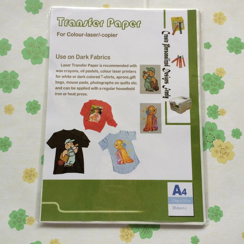 Diy Modieuze T-shirt (a4 * 20 Stks) Kleur Laser Warmte-overdracht Papier Voor Donkere T-shirt, Sweatshirts, Schorten Compleet In Specificaties