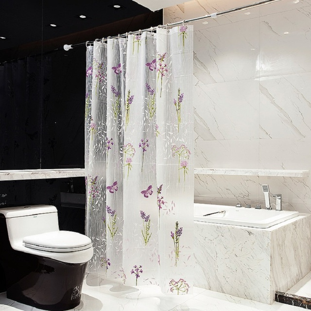 Transparent Butterfly Flower And Grass Bathroom Curtain Bath Cover Peva Eco Friendly Waterproof Antibacterial Shower