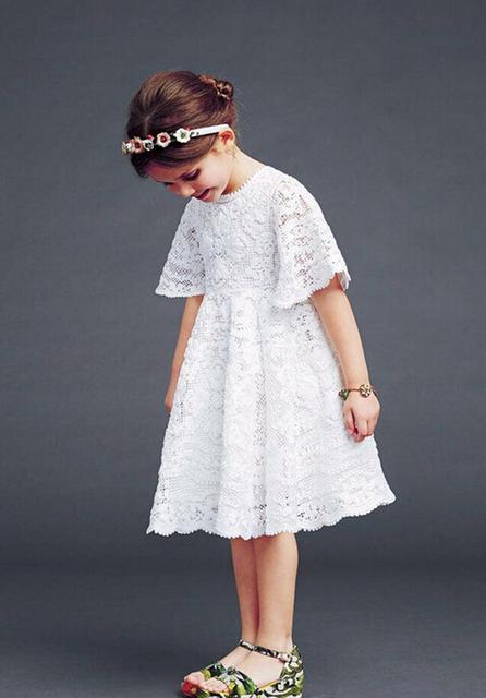 Oneasy 2016 Verano Niña Vestido de Encaje de Niña Vestido de Pétalos de Cuento de Hadas Blanco Vestidos Esteticismo Princesa Bebé Recién Nacido Dres