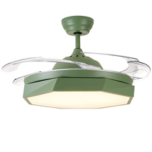 Modern simple macaron Colorful Ceiling Fan LED invisible telescopic automatic Fans Living Room Cooling With Lights