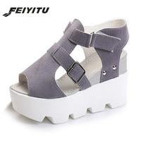 FeiYiTu 2018 Summer women Open Toe sandals platform Fashion sandals wild simple shoes shook students wedges shoes White Black