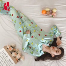 Sleepwear Women Plus Size Summer Pyjamas Satin Silk Pajamas Set Long Sleeve Pijamas Suit Sleep Homewear M L XL