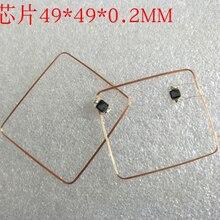 13.56mhzのhf cobとアンテナic溶接コイル国内復旦F08チップrfidタグ49*49*0.3ミリメートル14443A