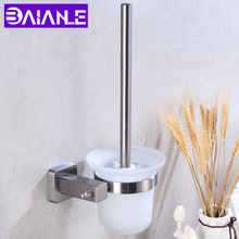 Toilet Brush Holder Stainless Steel Detachable Set Glass Cup Wall Mounted Bath Cleaning Tool