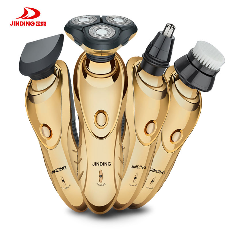 JINDING 3D Electric Shaver for Men Gold-plated Rechargeable Nose Hair Trimmer Triple Blade Electric Head Trimmer Waterproof jinding gold plated electric shaver gold rechargeable shaver 3d float triple blade electric head trimmer waterproof men shaver