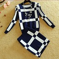 2016 Crop Top Sistemas de La Falda de Las Mujeres de Punto A Rayas Casual de invierno establece Pullover Knit La Blusa de la Envoltura de La Cadera de Una Línea de Falda de Dos Piezas conjuntos