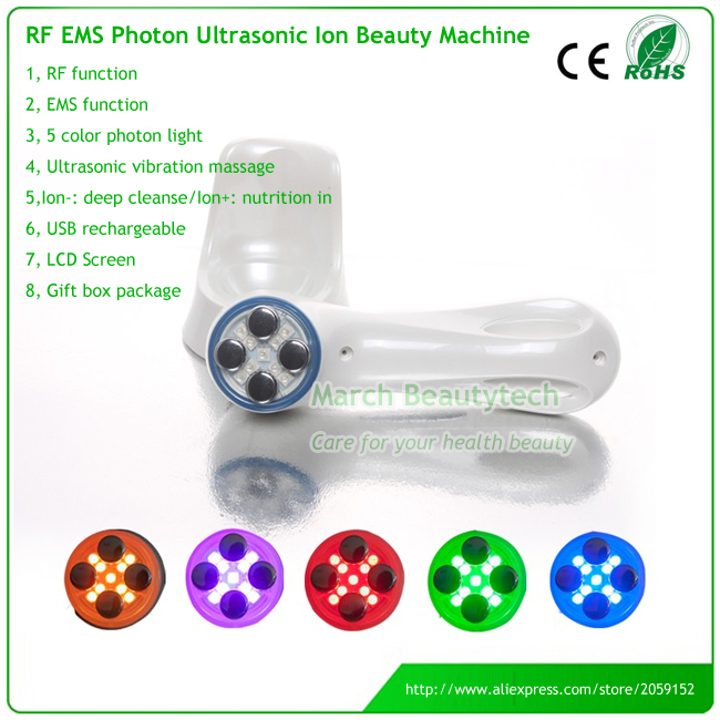 6 in 1 Ultrasonic Galvanic Ion Photon Facial Massager USB Rechargeable EMS RF Electroportation Collagen Stimulate Face Massager lcd display rechargeable galvanic current skin stimulation ultrasonic facial blackhead extraction face lift massager machine