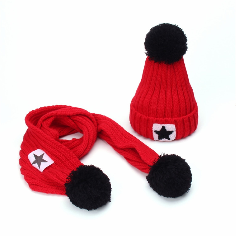 Winter Fleece Pompoms Hat Scarf Set for Kids Boys Girls Warm Knit  Thick Beanie Cap Baby