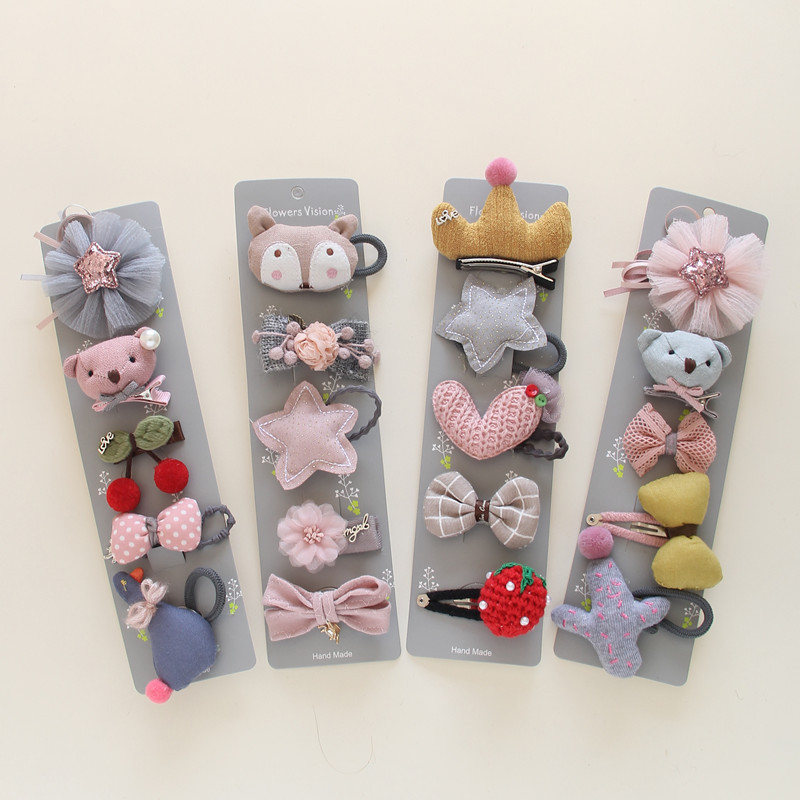 Korea Cotton Cartoon Bear Candy Coronary heart Hair Equipment For Ladies Hair Clips Elastic Hair Band Hairpin Hair Tie Princess Set