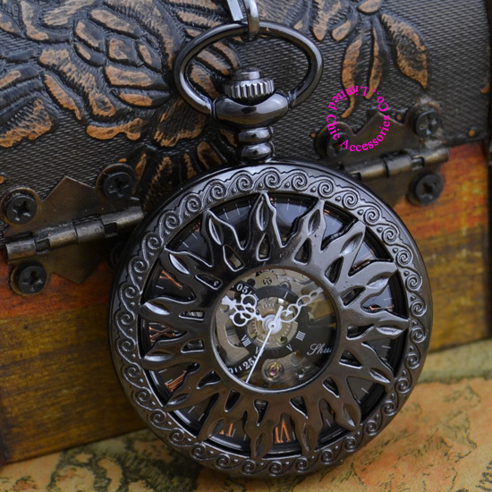 Coupon for wholesale price good quality new antique classical black sun flower mechanical pocket watch hour with chain hour