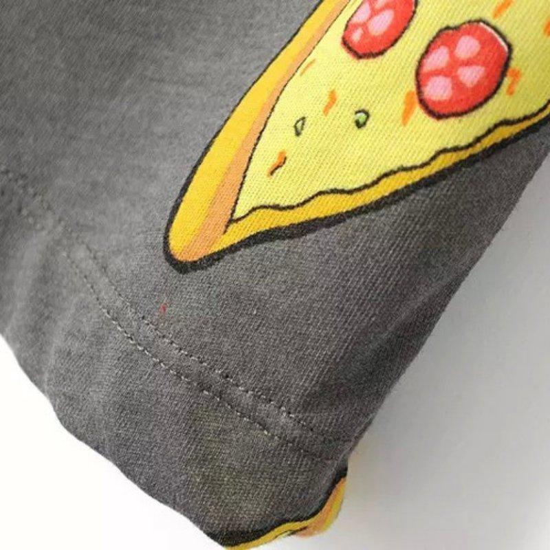 Ingen DRAMA T-shirt Kvinder Cute Pizza Letters Print Kortærmet Toppe - Dametøj - Foto 6