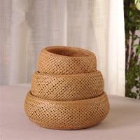 Round Bamboo Woven Storage Baskets Eco Friendly Fruits Basket Candies Vegetable Storage Box Kitchen Organizer