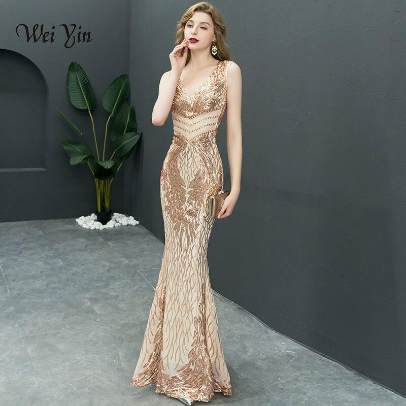 Weiyin 2019 Nouveau Double-V Longue Robe de Soirée robe de festa Sexy Backless de Luxe Or Sequin formelle parti robe robes de bal