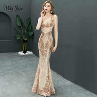 Weiyin 2019 新ダブル V ロングイブニングドレス vestido デ · フェスタセクシーな背中の高級ゴールドスパンコールフォーマルパーティードレスウエディングドレス