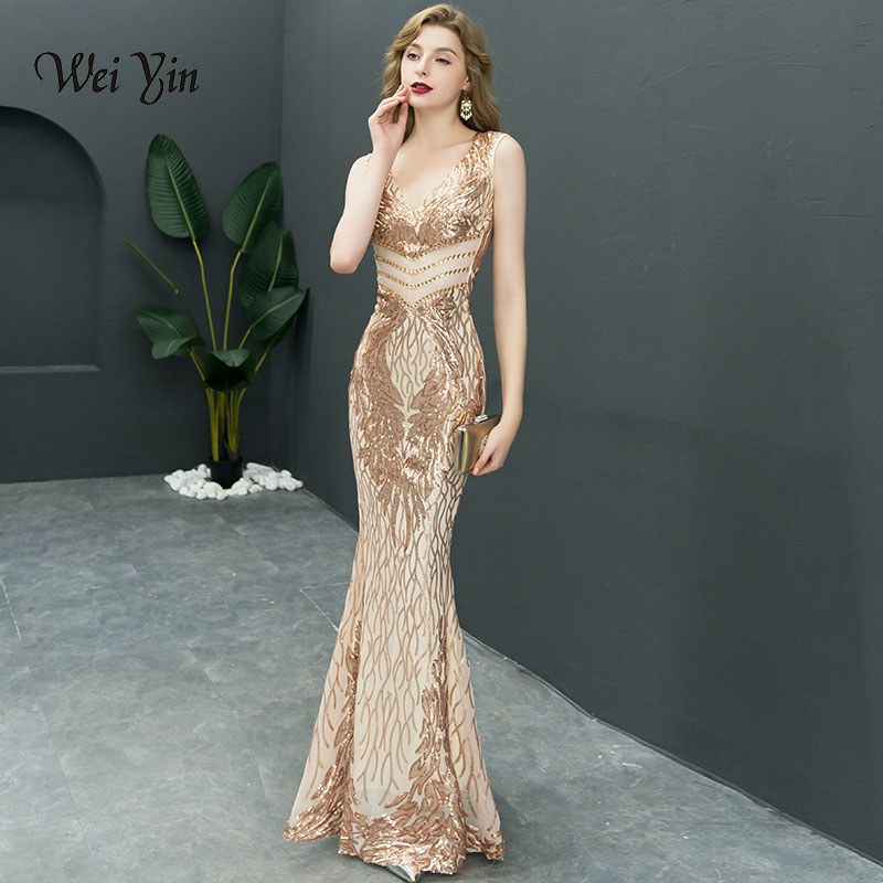 weiyin 2019 New Double-V Long   Evening     Dress   vestido de festa Sexy Backless Luxury Gold Sequin formal party   dress   prom gowns