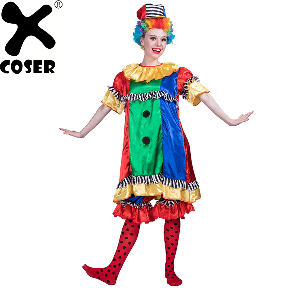 XCOSER 2018 Halloween Women Pretty Clown Cutie Outfit Cosplay Costume Girls Stage Performance Clothes Set Top&Pant&Hat&Pantyhose my 1st halloween witch hat white top halloween stripe skirt girl outfit set 1 8y mapsa0897