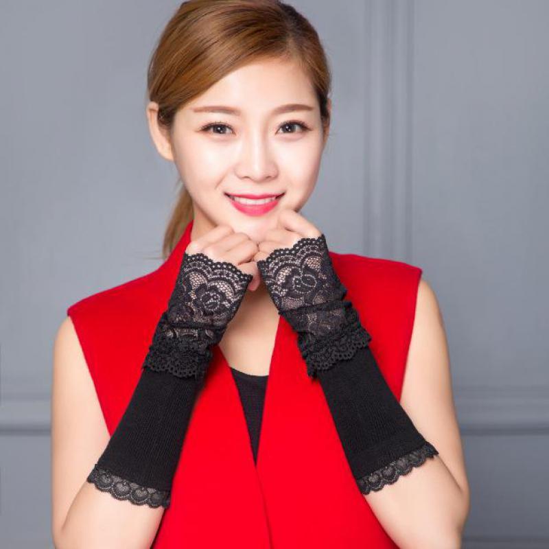 Calentadores de brazo de primavera y otoño para mujer, guantes largos sin dedos de algodón con encaje negro y manga de brazo AGB639A 2019 nuevo NB F160 Gas primavera escritorio 17