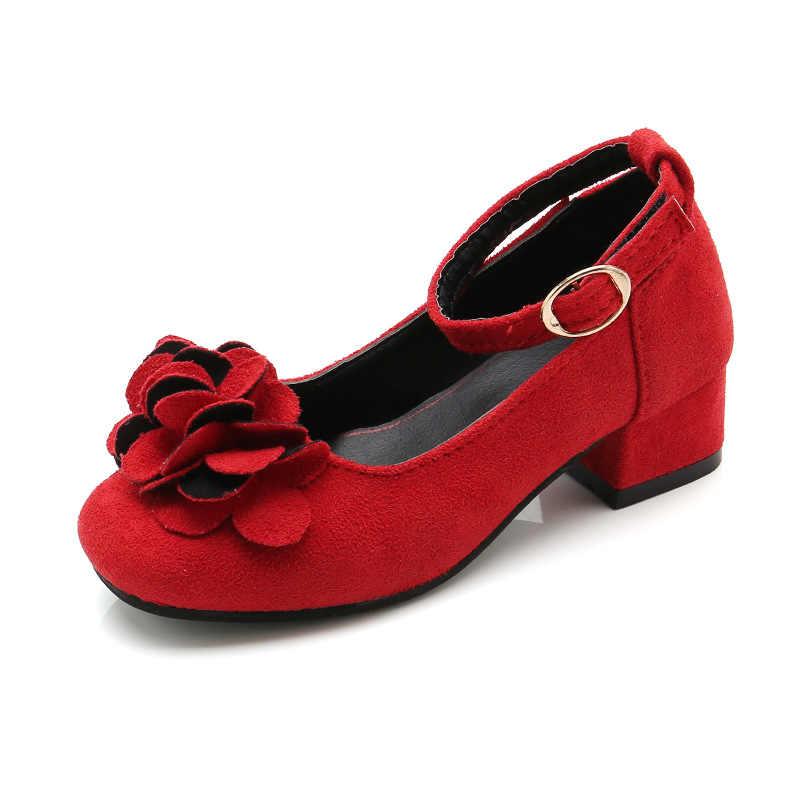 Pembe kırmızı siyah çocuk kız deri ayakkabı çocuklar için yüksek topuklu kızlar prenses ayakkabı parti düğün büyük kız elbise ayakkabı