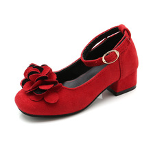 Pink Red Black Childrens Girls Leather Shoes for Kids High Heeled Princess For Party Wedding Big Dress