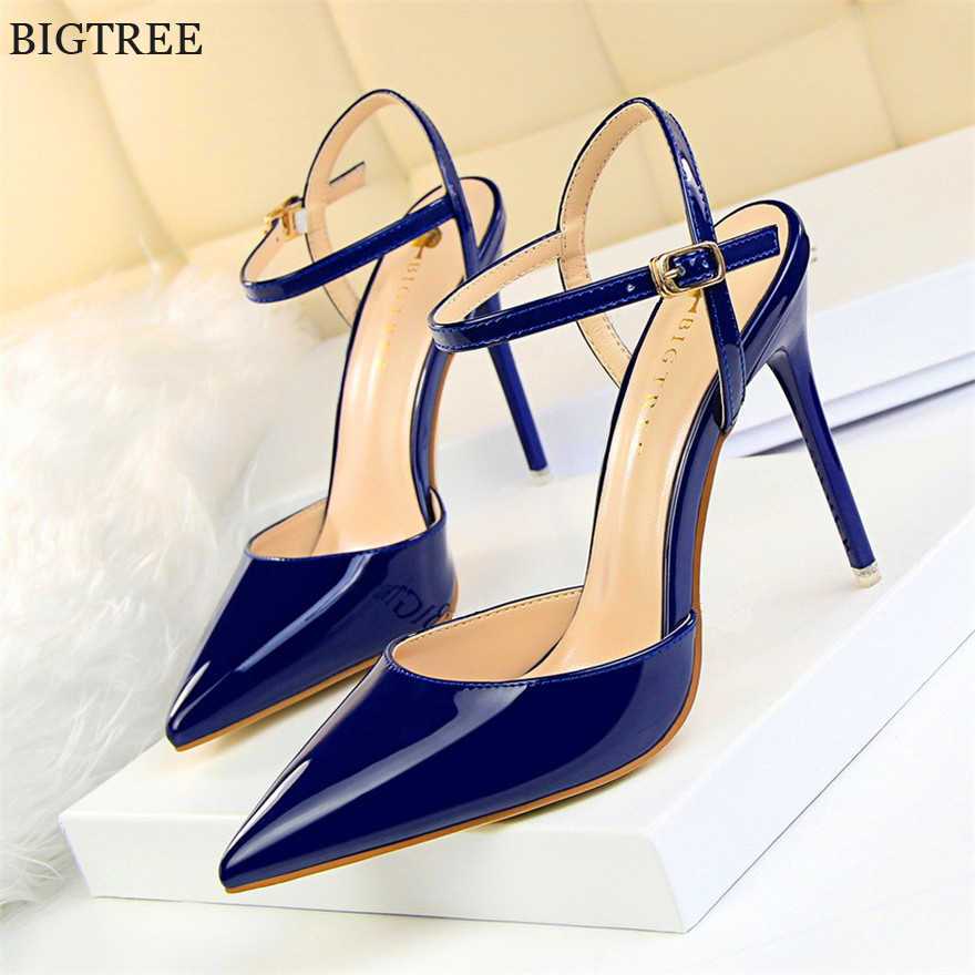 2018 New Concise Patent Leather Shallow Women Sandals Pointed Toe Fashion  Buckle High Heels Shoes Women s 6ed52c9afdcb