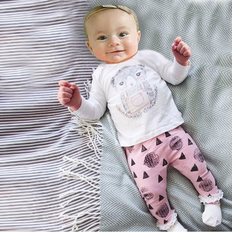 2018 Autumn Fashion Girl's Clothing set cotton long-sleeved T-shirt + cartoon pants newborn baby Set of clothes girl suit SY170 baby boy clothing ins baby girl long sleeved top t shirt pants cartoon penguin sheep newborn infant toddle clothes sets