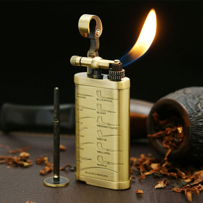 Retro Copper Men's Cigarette Lighter,Vintage Lighters For Smoking Pipe Tobacco Weed Cigar With Tamper Pokers Tool Smoking JF003 image