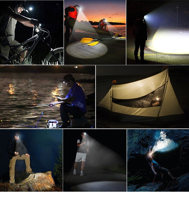 LED HeadLamp 5 Lighting Modes, USB Rechargeable, Waterproof Fishing Lights For Hiking, Camping