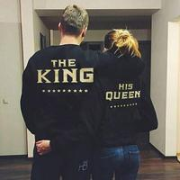 2018 King Queen Fashion Hoodies, The King His Queen Couples Matching hoodie sweatshirt wholesale men women funny pullover shirts
