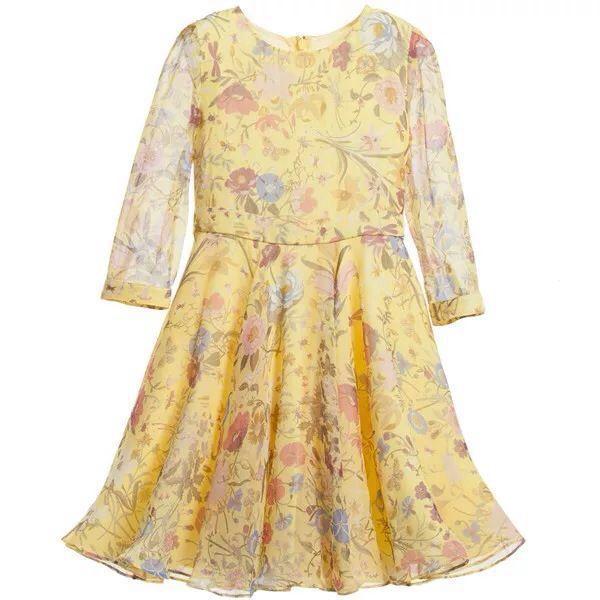 Новые Детские Платья Девушки Цифровая печать шифона с длинными рукавами Платье Принцессы Цветочные Платья желтый Детские оптовая