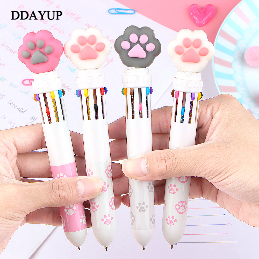 Korean 10 Color Ballpoint Pen Stationery Cute Pen Cat Paw Theme Cartoon Ballpoint Pen Kawaii School Writing Gifts